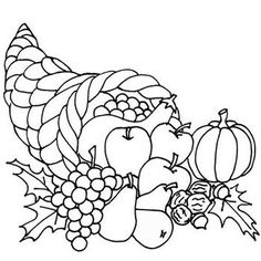 Cornucopia Coloring Pages To Color Clipart
