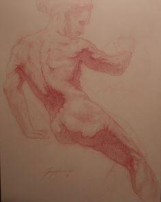 Red Chalk on Toned Paper by Jesse Harrington www.harringtonsculpture.com