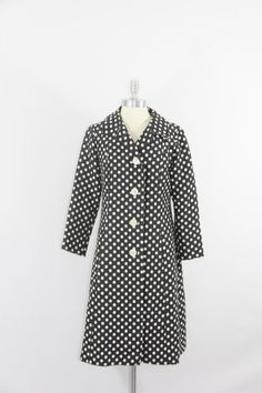 1960's Vintage Coat  Black and White Polka by VintageFrocksOfFancy, $180.00