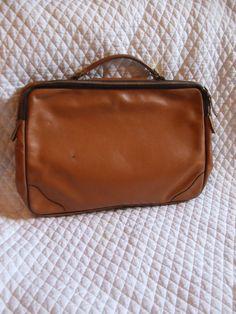 Vintage Faux Leather Laptop Case Briefcase. $45.00, via Etsy.