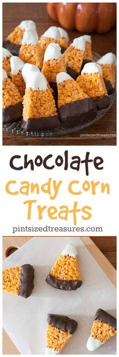 Chocolate Candy Corn Crispy Treats are super-cute and easy to make! Not to mention incredibly yummy! Perfect for your next fall party! @alicanwrite                                                                                                                                                                                 More
