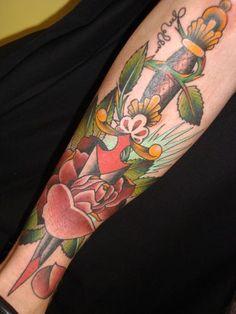 Chris Smith-Master Tattoo-San Diego #tattoo #dagger #rose   Tattoo ... Port City Tattoo, Chris Masters, San Diego Tattoo, Tattoo Inspiration, Sleeve Tattoos, Tatting, Body Art, Ink, Chicago