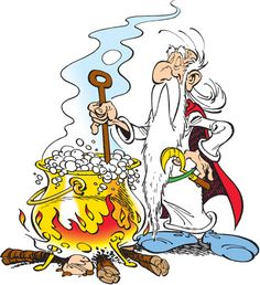 Getafix, the Druid from Asterix, stirs his magic potion.