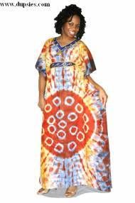 Blue, Yellow and Orange Senegalese Tie Dye Dress for Women