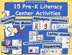 Literacy Centers: Making Capital Letters with Lines and curves, 15 activities from Print Path on TeachersNotebook.com -  (130 pages)  - Differentiated Literacy and Phonics Centers.   Fifteen activities ordered by level of difficulty for building skills of   •	Initial sound recognition,  •	Upper and lowercase letter identification,  •	Sound and letter association,  •	Alphabetic awareness,