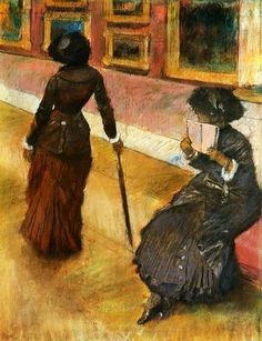 """'Mary Cassatt at The Louvre', painting, Edgar Degas; Mary Cassatt, American painter living in Paris, stands, while her sister Lydia reads.  Degas wrote in his notebook about this portrait of his friend : """"Her slender erect figure, neatly tailored, and her crisply furled umbrella all convey to us something of Mary Cassatt's tense, energetic character."""""""