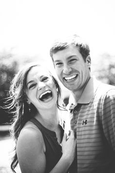 Perfect, creative couples pictures and photography at the park and downtown. Engagement session with creative cute photos outdoors. Laughing black and white