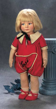 ". Italian Cloth Character Doll ""Lusi"" by Lenci with Wonderful Expression"
