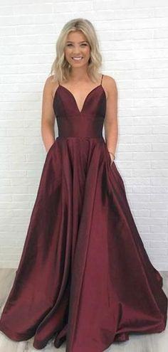 Simple V-neck Long A-line Prom Dresses fd38c8d17