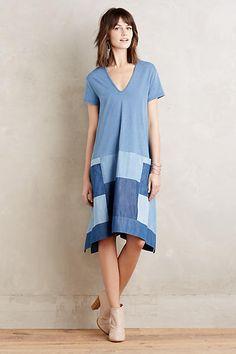 Abi Chambray-Kleid mit Aufnähern, blau - anthropologie.com