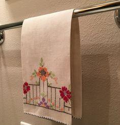 Vintage Cross Stitch Hand Towel by esmeelynne on Etsy