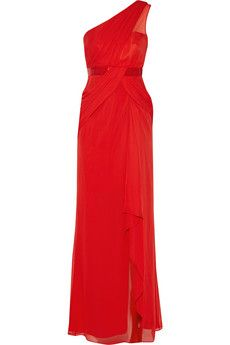 Notte by Marchesa One-shoulder silk-georgette gown | NET-A-PORTER