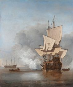 """This vintage Maritime painting features a man-of-war firing a cannon shot. It is titled, """"The Cannon Shot"""", painted by Willem van de Velde the Younger, Circa 1680. Own a piece of History with this digitally restored vintage poster from The War Is Hell Store. Oil On Canvas, Canvas Prints, Art Prints, Man Of War, Dutch Golden Age, Dutch Painters, Nautical Art, Ship Art, Fine Art"""