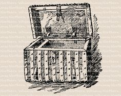 Vintage Treasure Chest Clip Art - Steamer Trunk Clip Art - Wooden Box Illustration - Digital Stamp - instant download - commercial use Buried Treasure, Treasure Chest, Steamer Trunk, Digital Stamps, Wooden Boxes, Commercial, Clip Art, Fur, Unique Jewelry