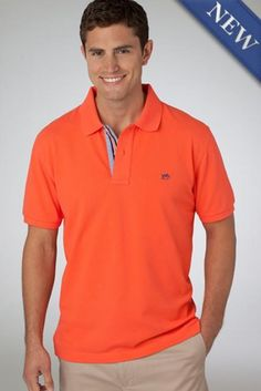 Southern Tide's Navigational Collection Skipjack polo is designed with their innovative True-Vent Micro Pique, beach glass inspired buttons, simple embroidery and nautical trim for a clean look that is truly one-of-a-kind. Simple Embroidery, Southern Tide, Sports Shirts, Polo Shirt, Polo Ralph Lauren, Coral, Menswear, Mens Fashion, Mens Tops