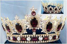 Men's Rhinestone Gold full Amethyst Purple Royal Premium Crown - CrownDesigners