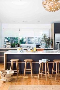 Step inside an enchanting family getaway on NSW's south coast Interior Decorating Tips, Interior Design, Oz Design Furniture, Rustic Stools, Lunch Room, Family Getaways, Beach Shack, Step Inside, Coastal Decor