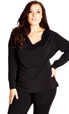 768310ca291 City Chic  Back View  Drape Neck Top (Plus Size) available at