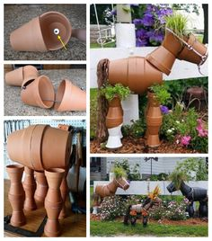 Clay Pot Projects, Clay Pot Crafts, Diy Garden Projects, Diy Garden Decor, Plant Crafts, Shell Crafts, Clay Flower Pots, Flower Pot Crafts, Clay Pots