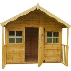 """The 6' x 5'6"""" Honeysuckle Playhouse is a brilliant Swiss cottage style playhouse, offering ample space at great value. The quaint cottage is built to high standards and features 2 fixed front windows that utilise styrene glazing, an environmentally, shatterproof alternative to glass. The building is clad with interlocking shiplap board, and the roof and floor are constructed with solid sheet boards. As with all of our playhouses, the Honeysuckle meets EN-71Toy Safety Standards. Styrene Sheets, Shiplap Boards, Swiss Cottage, Front Windows, Wooden House, Play Houses, Cottage Style, Shed, Garden Products"""