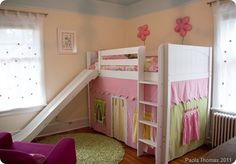 I love this little girl's loft bed. this would be great for aubree! @Haley Hill