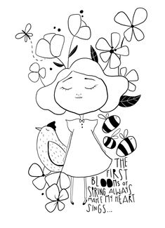 Coloring Sheets, Coloring Pages, Colouring, Character Drawing, Whimsical Art, Little Miss, Easter Crafts, Mixed Media Art, Wall Murals