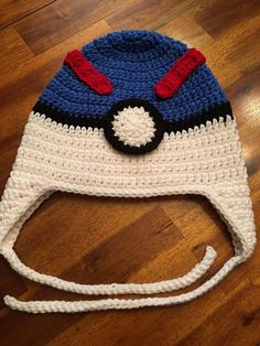 a231c5b6b70 Pokemon Go - Great Ball Crochet Hat. Sizes Child (3 to 10 years)