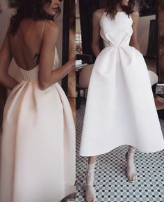 Sexy White Open Back Abendkleid, Tee Länge Satin Partykleid - Elegant Dresses, Pretty Dresses, Sexy Dresses, Beautiful Dresses, Fashion Dresses, White Evening Dresses, Elegant White Dress, Backless Evening Gowns, Sexy White Dress