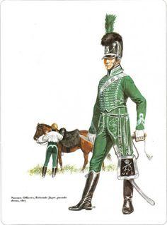 Napoleon's German Allies. Nassau and Oldenburg_ officiers Reitende Jager parade dress 1807