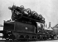 This has to be one of the more unusual #boiler explosion pictures. In 1893 one trains boiler exploded flipping it onto an adjacent train. It was then transported 20 miles in this same position to a shop.