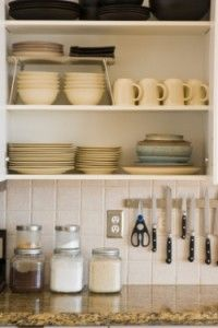 #open kitchen shelving love the tile size and pattern i love the magnetic stop for knives