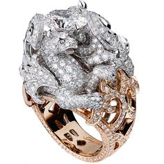 Giampiero Bodino Chimera ring in rose and white gold with an oval-shaped diamond 3.01 cts