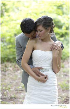 Romantic shot of bride and groom in the woods #rustic #wedding