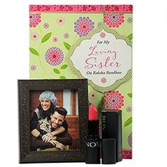 Rakhi Gifts for Sister - Rakhi Return Gifts to Sister Online Rakhi Festival, Rakhi Gifts For Sister, Raksha Bandhan, Sisters, Lipstick, Notes, Frame, Picture Frame, Lipsticks