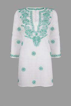 White Beach Kaftan, Beach Cover Up with Turquoise Hand Embroidery