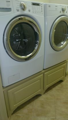 My homemade washer and dryer pedestal.