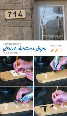 Project Details Wood carving for beginners: Carve a street address sign the easy way with a Dremel tool. This home address sign is a great housewarming gift, too. Wood Carving For Beginners, Wood Projects For Beginners, Diy Wood Projects, Wood Crafts, Dremel Werkzeugprojekte, Dremel Wood Carving, Dremel 4000, Dremel Tool Projects, Easy Woodworking Projects