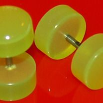 "Pair (2 pieces) of Light Green Acrylic Fake Cheater Plugs 9mm - High quality acrylic- End size: 00G"" (9mm) - Length: 1/4 inches- Stainless steel shaft: 16 Gauges. These fake plugs and tapers gives the look of stretched ears - msin15209"