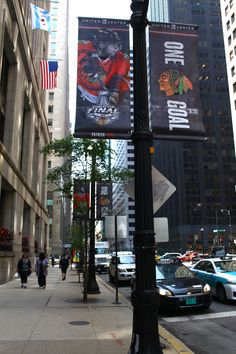 Stanley Cup Final banners line LaSalle Street outside City Hall! #Blackhawks