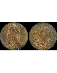 Heritage's summer FUN convention auction includes a 1795 Flowing Hair, Three Leaves silver dollar, top, and a 1799 Capped Bust, Heraldic Eagle, Small Stars Reverse gold $5 half eagle, bottom, among the more than 2,200 lots being offered.