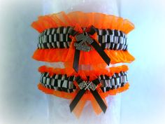 Racing inspired wedding garter set with by CreativeGarters on Etsy