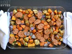 Autumn Medley of Sausage, Sweet Potatoes, Apples, and Onions