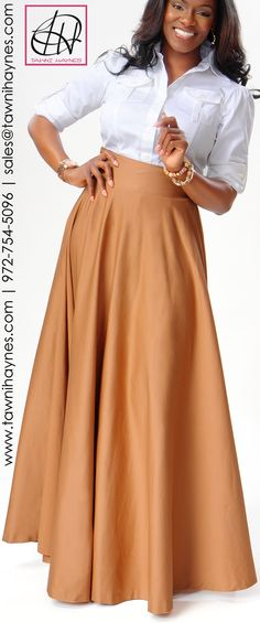 Tawni Haynes Military Blouse  Floor Length High Waist Swing Skirt. Order by phone 972-754-5096, online http://www.tawnihaynes.com/blog/military-blouse-with-floor-length-high-waist-swing-skirt/