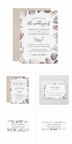 White Sea Shell and Coral Invitation Set. This Summer Destination Wedding Invitation Set feature White Sea Shell and Coral with outstanding calligraphy scripts that surround your wedding details. Vow Renewal Invitations, Engagement Invitations, Destination Wedding Invitations, Modern Wedding Invitations, Wedding Invitation Design, Wedding Stationery, Invites, Wedding Favours Sign