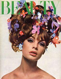 Jean Shrimpton with butterflies in her hair 1960s