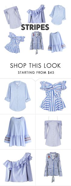 """Stripes"" by thefreshpacific on Polyvore featuring moda, Velvet, Caroline Constas, Chicwish, Topshop y Off-White"