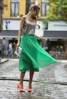 Summer Outfit with a Green Skirt