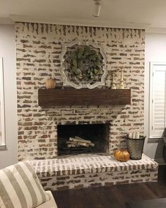 53 Beautiful Astonishing Fireplace Makeover For Fall Home Decor. Once you choose to sell your house, it's really no longer your property. Staging your house is Marketing If you're selling your house during the . Brick Fireplace Makeover, Farmhouse Fireplace, Home Fireplace, Fireplace Design, White Wash Fireplace Brick, Brick Fireplace Remodel, Fireplace Ideas, Fireplace Mortar, Brick Fireplace Decor