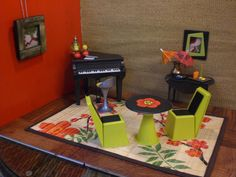 Barbie Doll House PIANO SUSHI BAR Funky Modern Complete Room Furniture Accessories ooak. $95.00, via Etsy.
