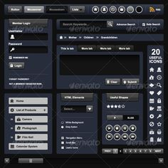 Web Design Template Element Dark Theme  #GraphicRiver         A full fledge web design theme with all the essential HTML elements.   This web design template element consist of buttons (neutral, mouseover, mousedown, multiple level navigation, round buttons, member login form, breadcrumb, search box, tabs, textarea, sub side navigation menu, combo box, radio buttons, checkbox, pagination, scrollbars, and some other useful video controller buttons.   Apart from that, this design also come…